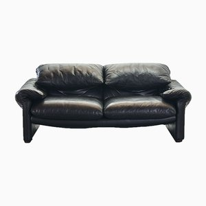 Black Leather 2-Seater Maralunga Sofa by Vico Magistretti for Cassina, 1970s