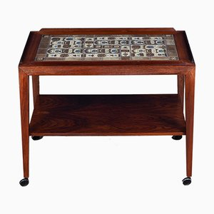 Danish Rosewood Serving Cart with Royal Copenhagen Tiles by Severin Hansen for Haslev Møbelsnedkeri, 1960s