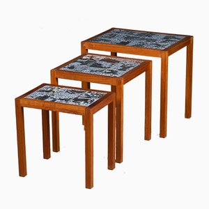 Mid-Century Danish Teak Nesting Tables with Tiles, 1960s