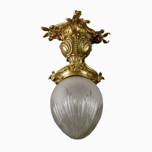 Deckenlampe aus geschliffenem Glas im Rokoko Stil aus Bronze & weißem Metallglas