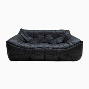 Black Leather 2-Seat Sofa by Hans Hopfer for Roche Bobois, 1980s