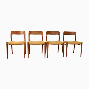 Mid-Century Model 75 Side Chairs by Niels O. Møller, Set of 4