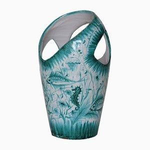 Paragüero acuático vintage de cerámica, años 70