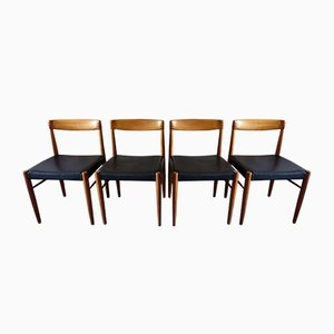 Danish Inlaid Teak and Leather Dining Chairs by H. W. Klein for Bramin, 1960s, Set of 4
