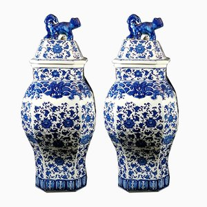 Chinese Qing Dynasty Vases with Lid, 1908, Set of 2