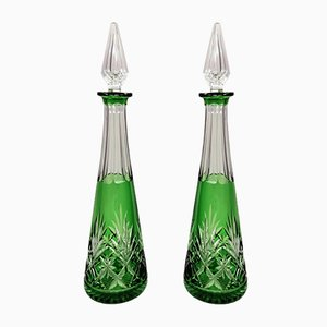 French Green Lead and Hand Cut Crystal Decanter, 1930s, Set of 2