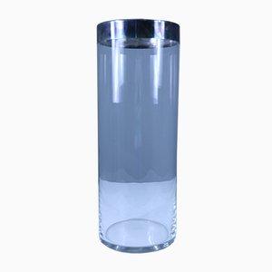 Mid-Century Glas und Metall Vase