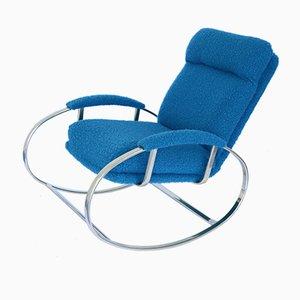 Galvanized Metal & Bouclé Fabric Rocking Chair, 1970s