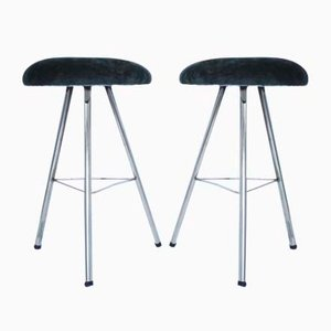 Mid-Century Brass and Velvet Stools, Set of 2