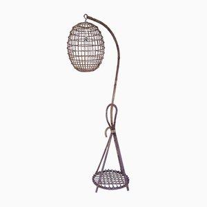Wicker Floor Lamp, 1950s