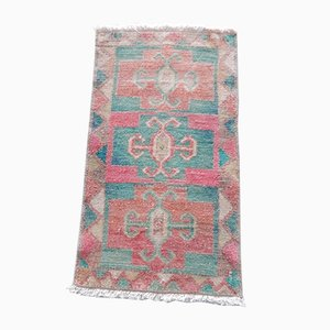 Small Turkish Hand-Knotted Distressed Yastik Rug, 1970s