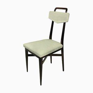 Italian Mahogany and Velvet Dining Chairs, 1950s, Set of 4