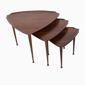 Rosewood Nesting Tables by Poul Jensen for Selig, 1950s, Set of 3
