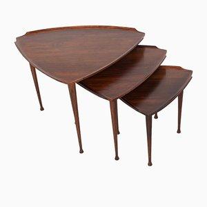 Tavolini ad incastro in palissandro di Poul Jensen per Selig, anni '50, set di 3