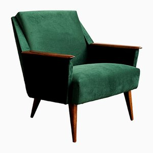 Vintage German Armchairs in Green Velvet, 1960s, Set of 2