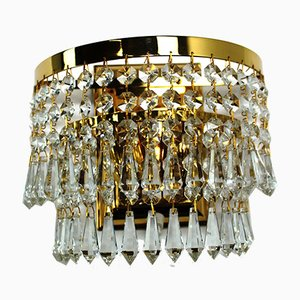 Crystal & Brass Wall Light from Dotzauer, 1980s