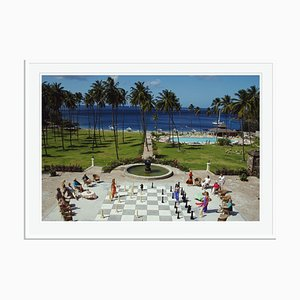 Megachess Oversize C Print Framed in White by Slim Aarons