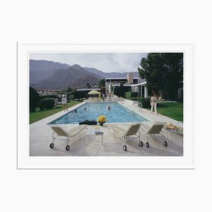 Kaufmann Desert House Oversize C Print Framed in White by Slim Aarons
