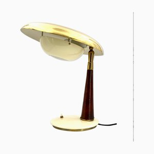 Mid-Century Brass & Leather Executive Desk Lamp by Angelo Lelli for Arredoluce, 1956