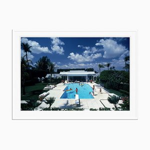 Pool in Palm Beach Oversize C Print Framed in White by Slim Aarons