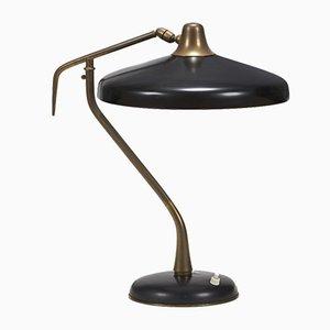 Lampe de Bureau Modèle 331 en Laiton et Aluminium Noir Laqué par Oscar Torlasco pour Lumi, 1950s