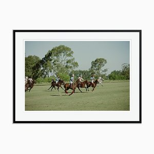 Polo Match Close Up Oversize C Print Framed in Black by Slim Aarons
