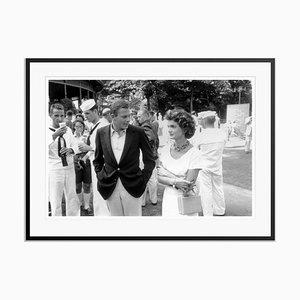 Tennis Guests Silver Fibre Gelatin Print Framed in Black by Slim Aarons