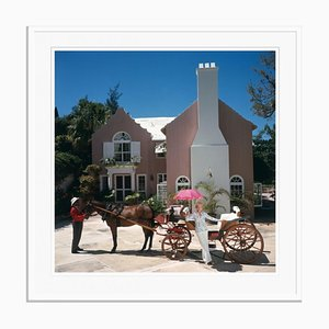 Carriage Awaits Oversize C Print Framed in White by Slim Aarons