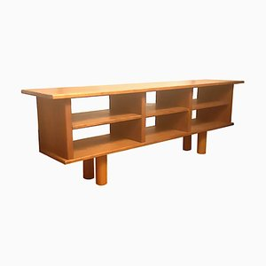 Estantería minimalista de madera de olmo, años 60