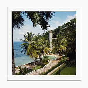 Bahamian Hotel Oversize C Print Framed in White by Slim Aarons