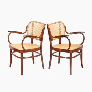 Bentwood & Wickerwork Model A283F Armchairs by Adolf Schneck for Thonet, 1930s, Set of 2