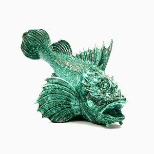 Pesce Scorfano Sculpture in Glazed Green Earthenware by Guido Cacciapuoti for Guido Cacciapuoti, 1934