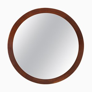 Swedish Round Mirror in Teak from Glas & Trä Hovmantorp, 1962