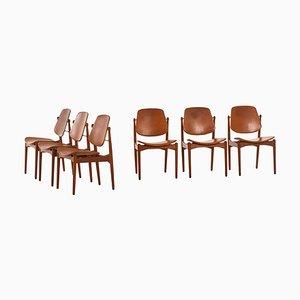 Sedie da pranzo modello nr. 203 di Arne Vodder per France & Daverkosen, Danimarca, anni '50, set di 6