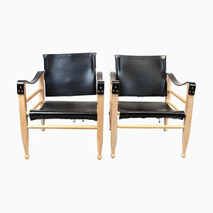 Black Leather Safari Chairs by Aage Bruun & Son, 1960s, Set of 2