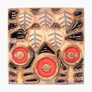 Keramikteller in Braun und Rot Nr. 3578 von Søholm, 1970er