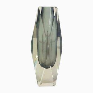 Vaso vintage in vetro di Murano grigio di Alessandro Mandruzzato
