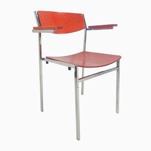 Vintage Red Plywood Armchairs by Gijs van der Sluis, Set of 4