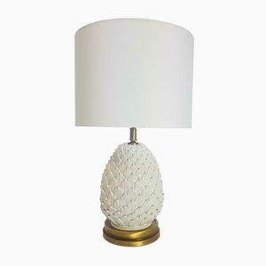 Vintage Regency Porcelain & Brass Pinecone Table Lamp