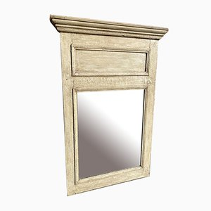 A Wonderful Antique 19th Century French carved wood distressed painted Mirror.