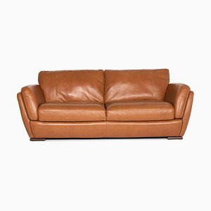 Cognac Brown Leather 3-Seat Sofa from Natuzzi Editions