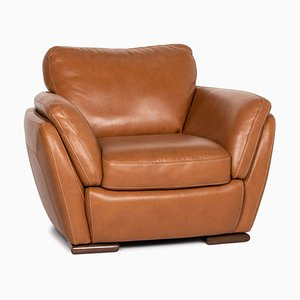 Cognac Brown Leather Sofa from Natuzzi Editions
