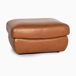Cognac Brown Leather Ottoman from Natuzzi Editions