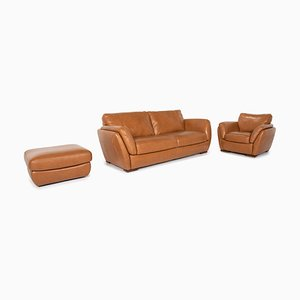 Cognac Brown Leather Sofa, Armchair & Stool Set from Natuzzi Editions, Set of 3