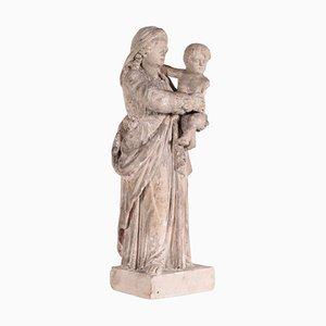 Italienische Jungfrau Maria mit Kindstein aus dem 19. Jh