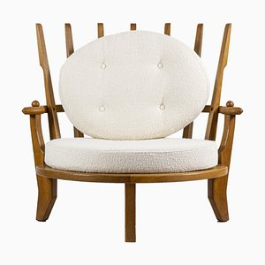 Oak Armchair Attributed to Guillerme et Chambron, 1950s