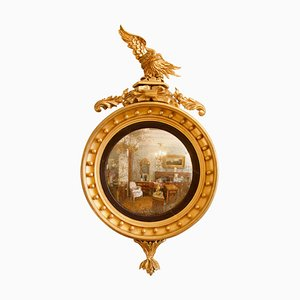 Early-19th Century Regency Giltwood Eagle Figure Round Convex Wall Mirror