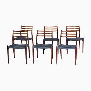 Sedie da pranzo moderne in palissandro di Niels Otto Møller, Danimarca, anni '60, set di 6