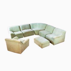 Conjunto de sofá, puta y otomana esquinero modular vintage en verde. Juego de 5