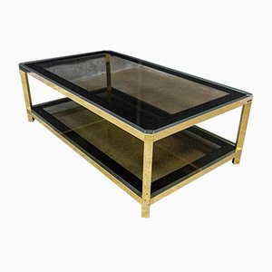 Vintage Brass Coffee Table with Glass Sheets